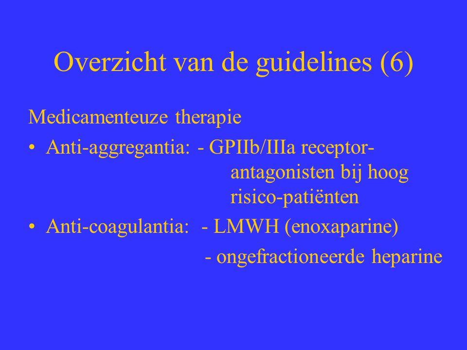 Overzicht van de guidelines (6) Medicamenteuze therapie Anti-aggregantia: - GPIIb/IIIa receptor- antagonisten bij hoog risico-patiënten Anti-coagulant