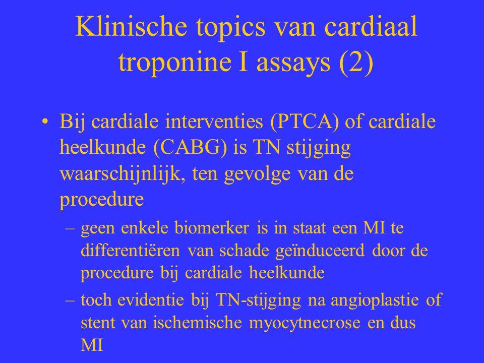 Klinische topics van cardiaal troponine I assays (2) Bij cardiale interventies (PTCA) of cardiale heelkunde (CABG) is TN stijging waarschijnlijk, ten