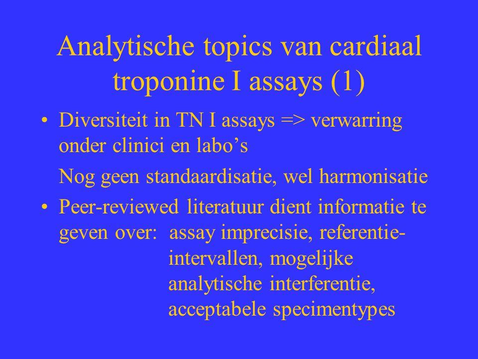 Analytische topics van cardiaal troponine I assays (1) Diversiteit in TN I assays => verwarring onder clinici en labo's Nog geen standaardisatie, wel