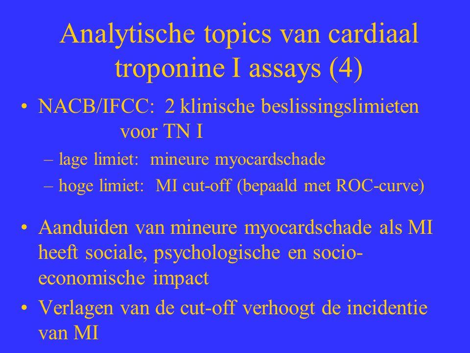 Analytische topics van cardiaal troponine I assays (4) NACB/IFCC: 2 klinische beslissingslimieten voor TN I –lage limiet: mineure myocardschade –hoge