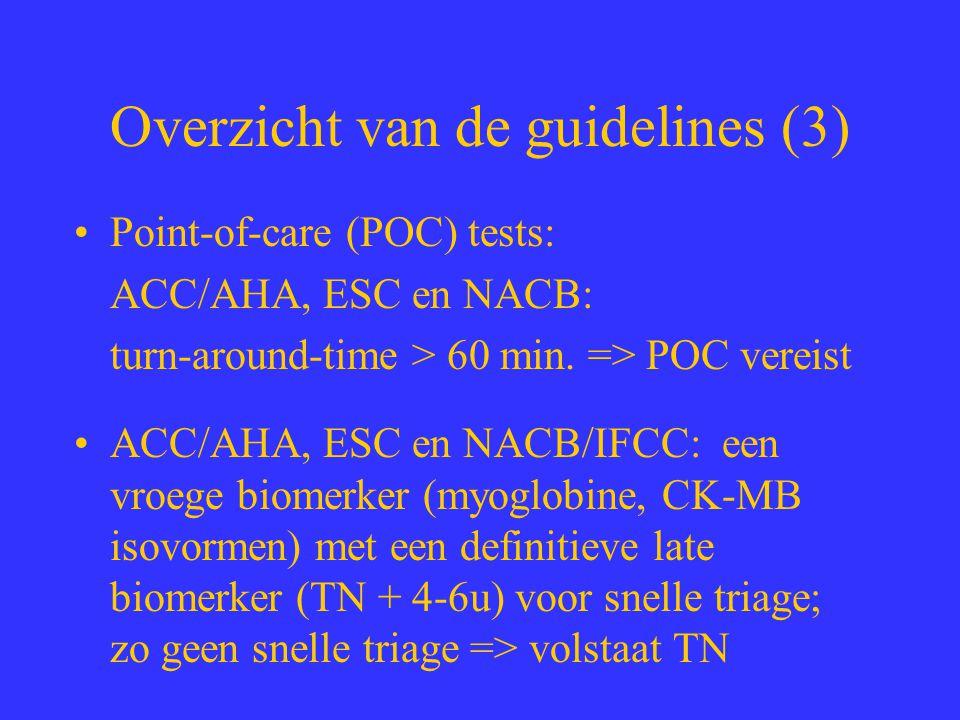 Overzicht van de guidelines (3) Point-of-care (POC) tests: ACC/AHA, ESC en NACB: turn-around-time > 60 min. => POC vereist ACC/AHA, ESC en NACB/IFCC: