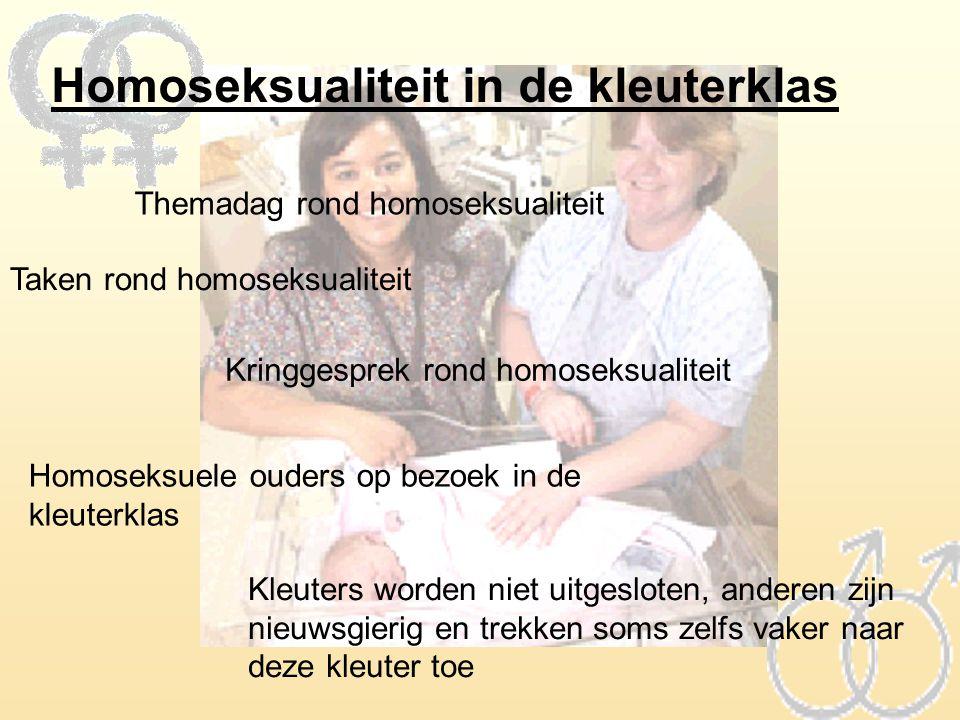 Homoseksualiteit in de kleuterklas Themadag rond homoseksualiteit Taken rond homoseksualiteit Kringgesprek rond homoseksualiteit Homoseksuele ouders o