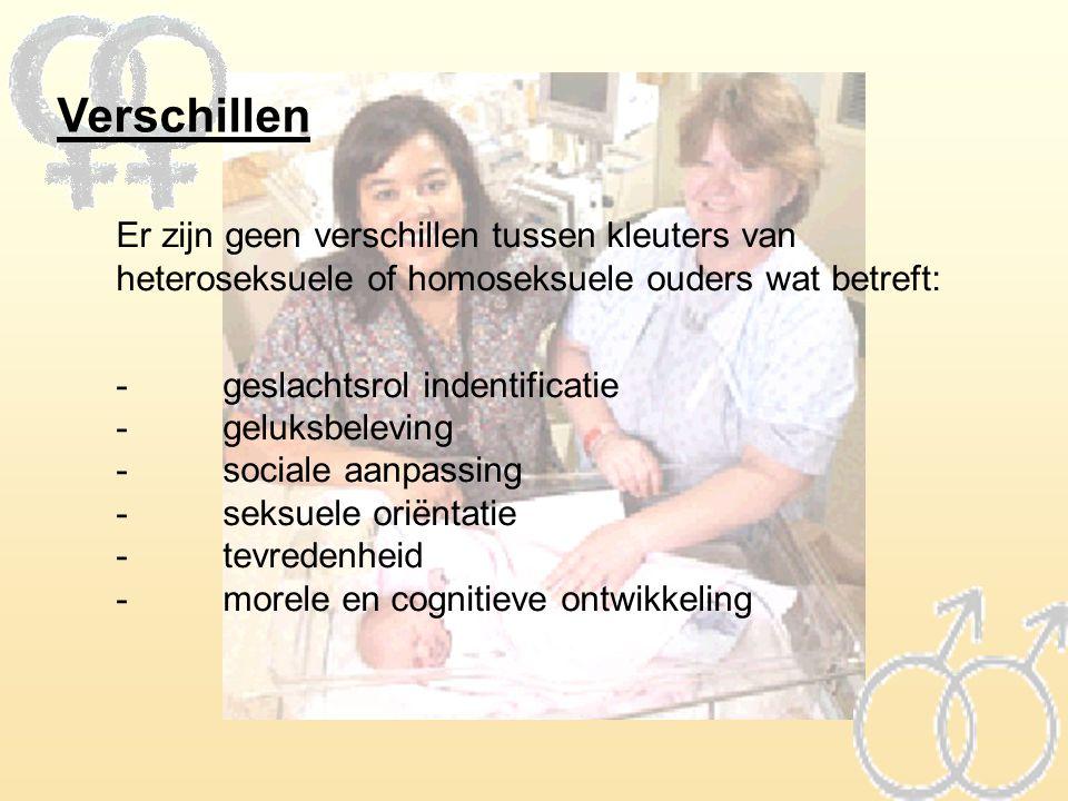 Verschillen Er zijn geen verschillen tussen kleuters van heteroseksuele of homoseksuele ouders wat betreft: -geslachtsrol indentificatie -geluksbelevi