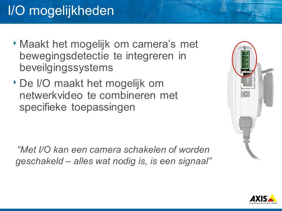 Sluit de Network camera/video server aan: Deur contactPassive IR beweginsdetector Glasbreek sensor Schok sensor Geluidsensor Alarm centraleSireneDeur slotRookgenerator Koffie machine Input Output