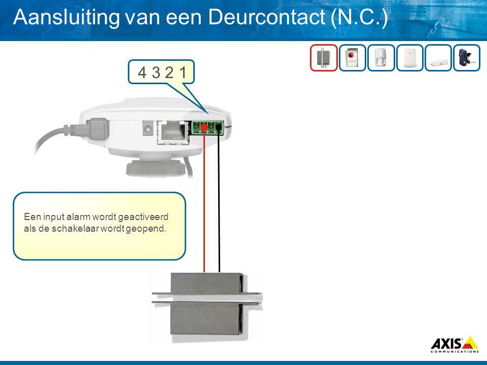 Aansluiting van een IR bewegingsdetector (NC) 4 3 2 1 9V From Camera N.C.