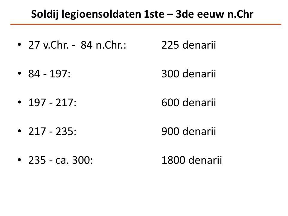 Soldij legioensoldaten 1ste – 3de eeuw n.Chr 27 v.Chr. - 84 n.Chr.:225 denarii 84 - 197:300 denarii 197 - 217:600 denarii 217 - 235:900 denarii 235 -