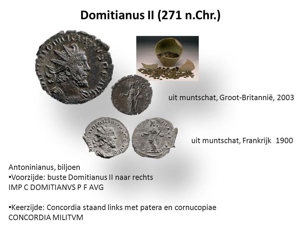 Domitianus II (271 n.Chr.) Antoninianus, biljoen Voorzijde: buste Domitianus II naar rechts IMP C DOMITIANVS P F AVG Keerzijde: Concordia staand links