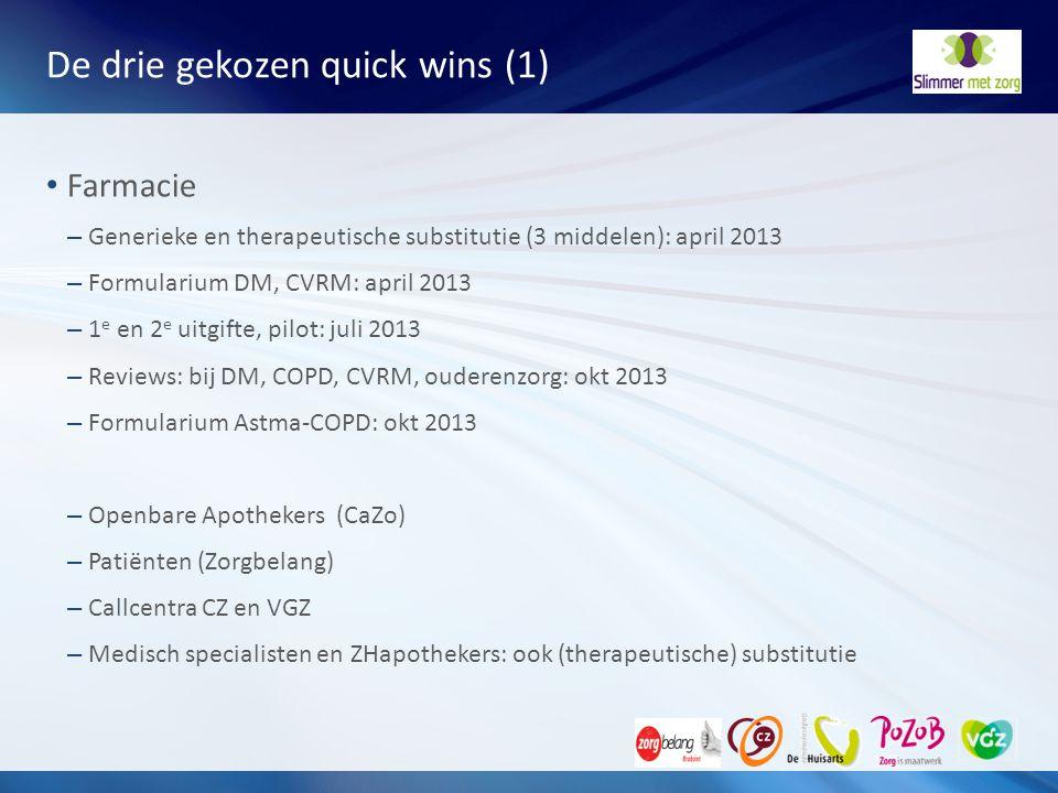 De drie gekozen quick wins (1) Farmacie – Generieke en therapeutische substitutie (3 middelen): april 2013 – Formularium DM, CVRM: april 2013 – 1 e en
