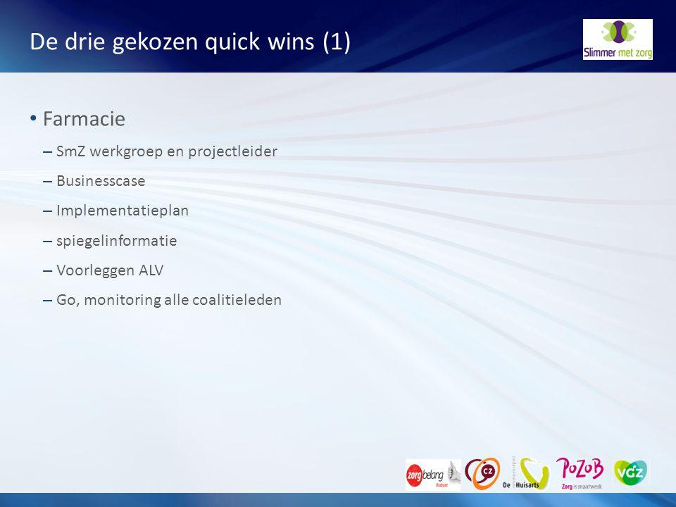 De drie gekozen quick wins (1) Farmacie – SmZ werkgroep en projectleider – Businesscase – Implementatieplan – spiegelinformatie – Voorleggen ALV – Go,