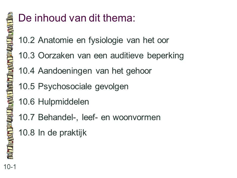 De inhoud van dit thema: 10-1 10.2Anatomie en fysiologie van het oor 10.3Oorzaken van een auditieve beperking 10.4Aandoeningen van het gehoor 10.5Psyc