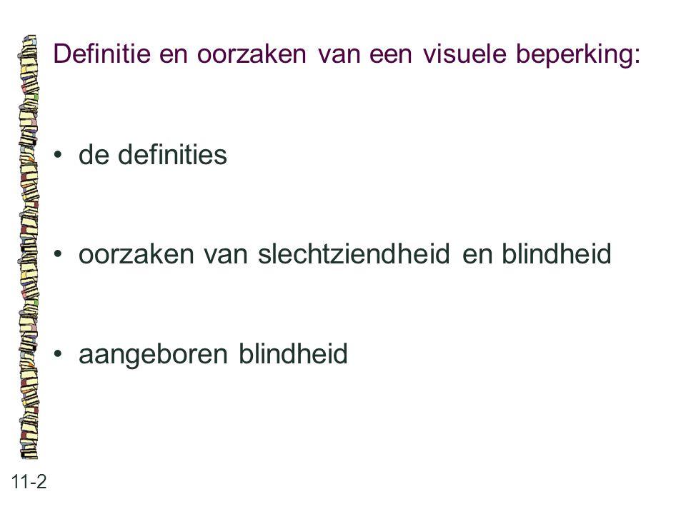 Definitie en oorzaken van een visuele beperking: 11-2 de definities oorzaken van slechtziendheid en blindheid aangeboren blindheid