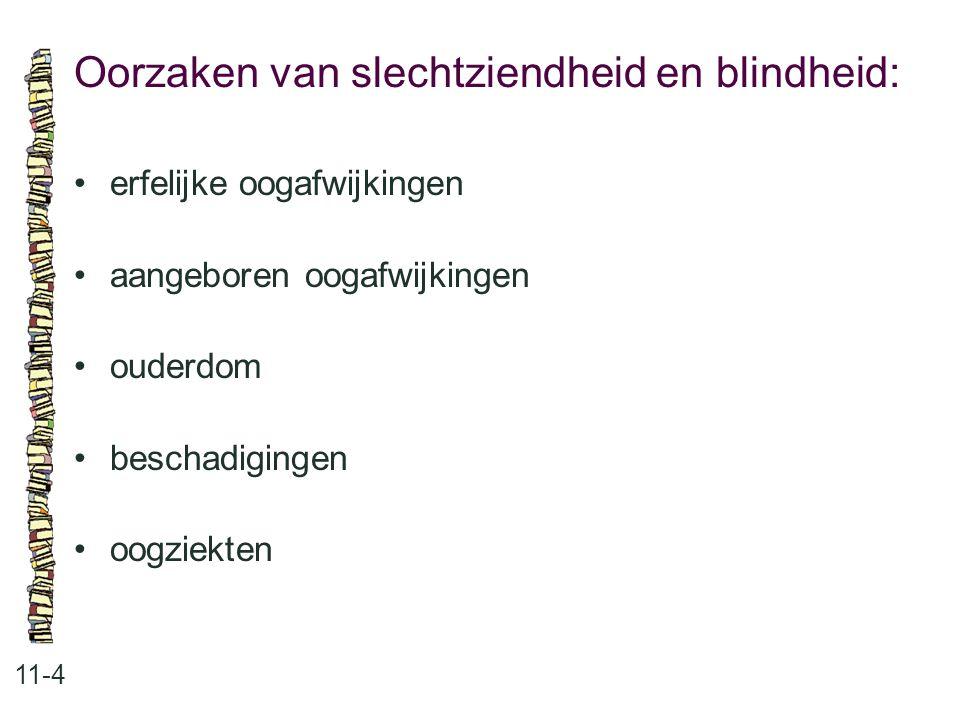 Oorzaken van slechtziendheid en blindheid: 11-4 erfelijke oogafwijkingen aangeboren oogafwijkingen ouderdom beschadigingen oogziekten