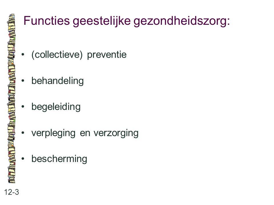 Functies geestelijke gezondheidszorg: 12-3 (collectieve) preventie behandeling begeleiding verpleging en verzorging bescherming