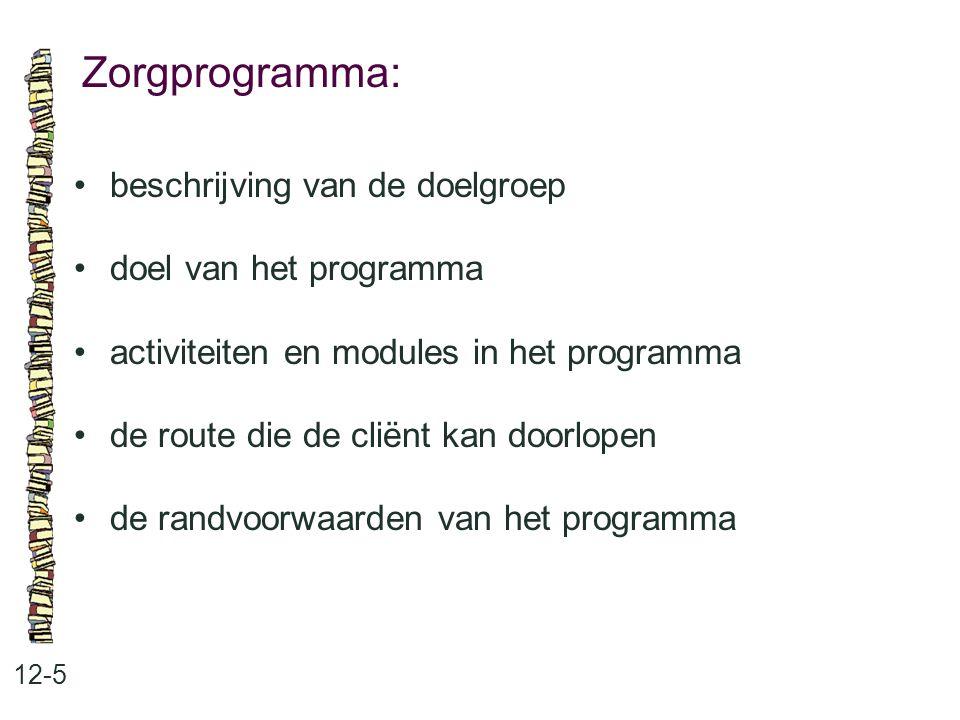 Zorgprogramma: 12-5 beschrijving van de doelgroep doel van het programma activiteiten en modules in het programma de route die de cliënt kan doorlopen