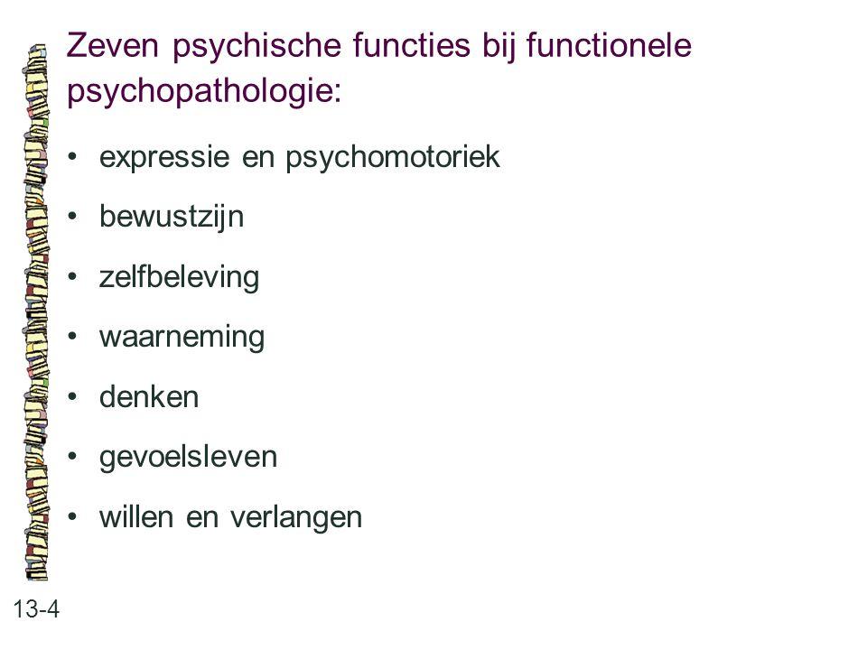 Zeven psychische functies bij functionele psychopathologie: 13-4 expressie en psychomotoriek bewustzijn zelfbeleving waarneming denken gevoelsleven wi
