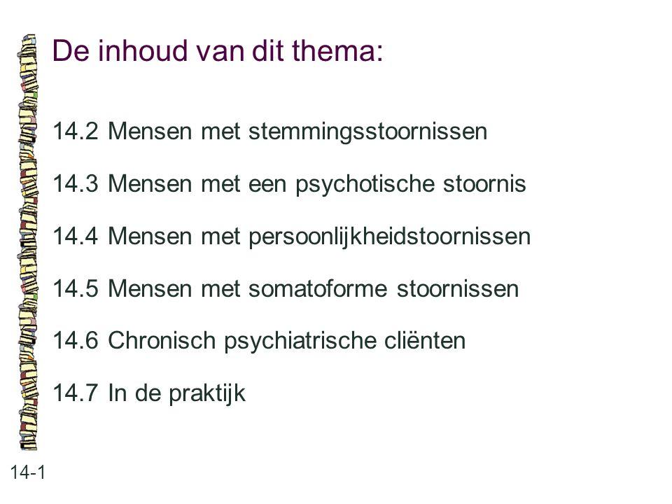 De inhoud van dit thema: 14-1 14.2 Mensen met stemmingsstoornissen 14.3 Mensen met een psychotische stoornis 14.4 Mensen met persoonlijkheidstoornisse