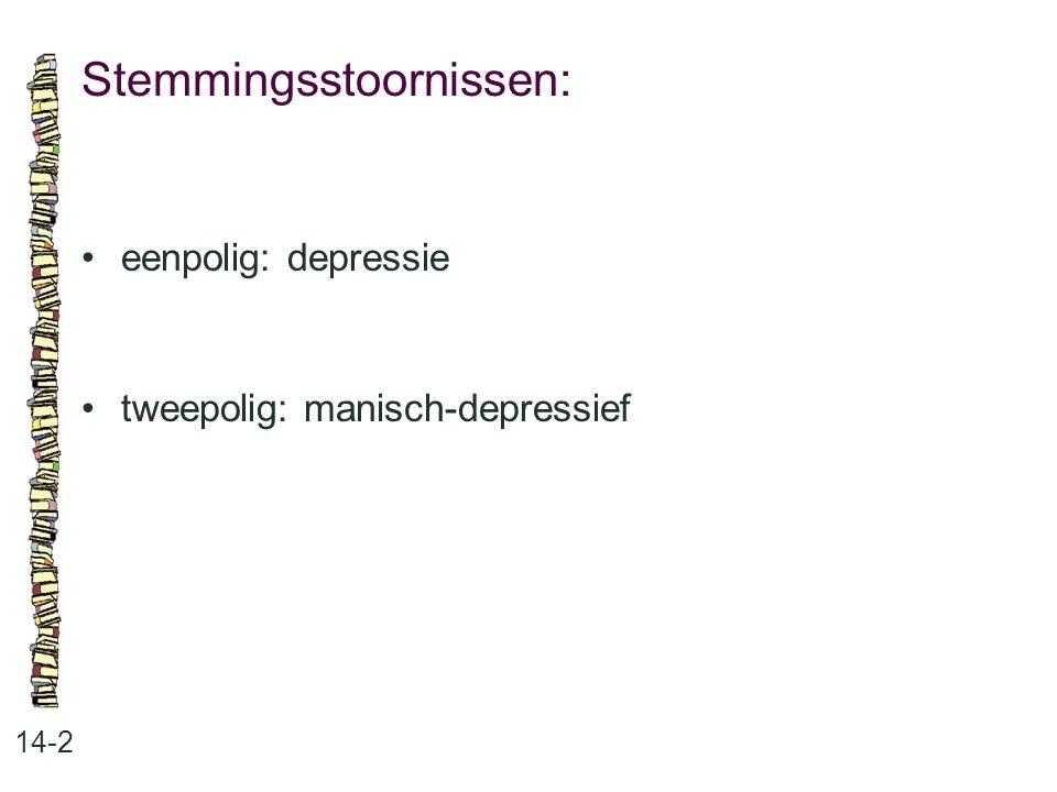 Stemmingsstoornissen: 14-2 eenpolig: depressie tweepolig: manisch-depressief