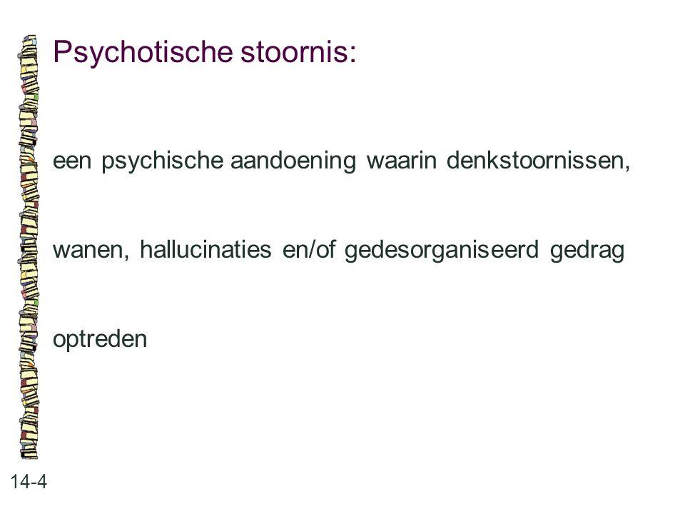 Psychotische stoornis: 14-4 een psychische aandoening waarin denkstoornissen, wanen, hallucinaties en/of gedesorganiseerd gedrag optreden