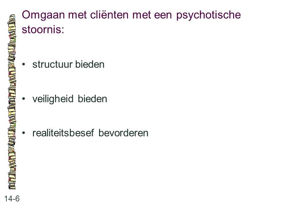 Omgaan met cliënten met een psychotische stoornis: 14-6 structuur bieden veiligheid bieden realiteitsbesef bevorderen