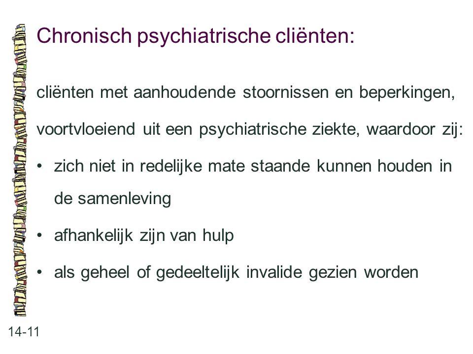 Chronisch psychiatrische cliënten: 14-11 cliënten met aanhoudende stoornissen en beperkingen, voortvloeiend uit een psychiatrische ziekte, waardoor zi