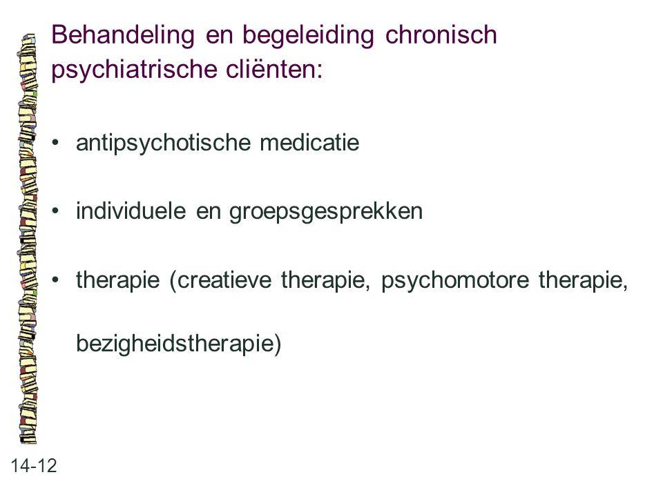 Behandeling en begeleiding chronisch psychiatrische cliënten: 14-12 antipsychotische medicatie individuele en groepsgesprekken therapie (creatieve the