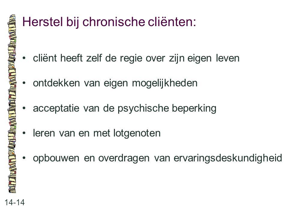Herstel bij chronische cliënten: 14-14 cliënt heeft zelf de regie over zijn eigen leven ontdekken van eigen mogelijkheden acceptatie van de psychische