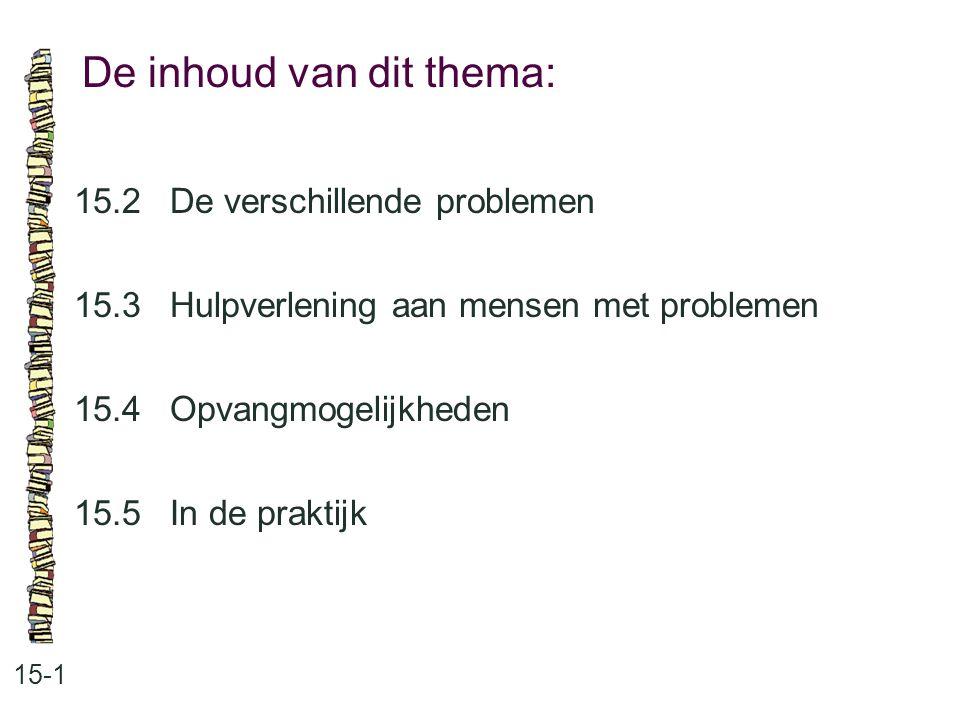 De inhoud van dit thema: 15-1 15.2De verschillende problemen 15.3Hulpverlening aan mensen met problemen 15.4Opvangmogelijkheden 15.5In de praktijk