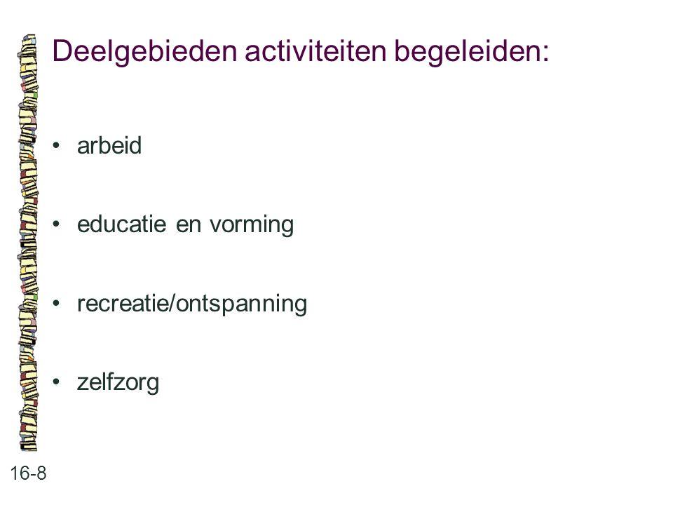 Deelgebieden activiteiten begeleiden: 16-8 arbeid educatie en vorming recreatie/ontspanning zelfzorg
