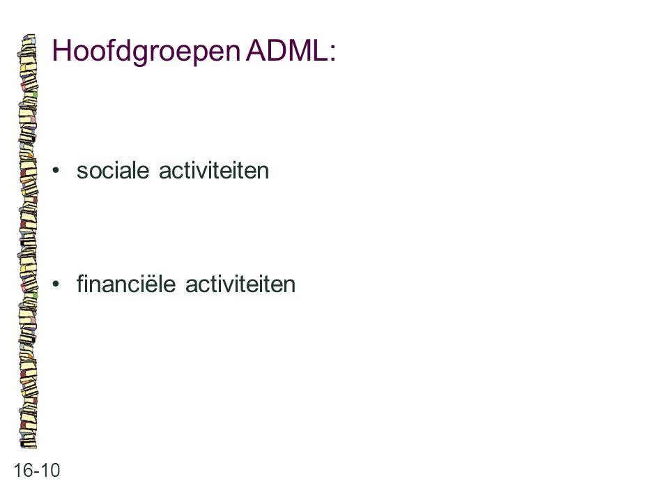 Hoofdgroepen ADML: 16-10 sociale activiteiten financiële activiteiten