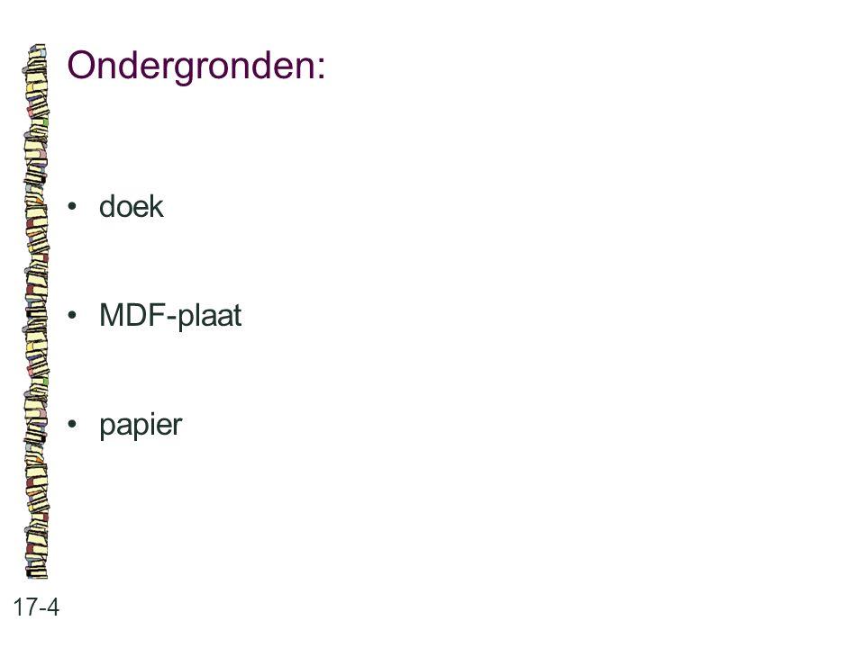 Ondergronden: 17-4 doek MDF-plaat papier