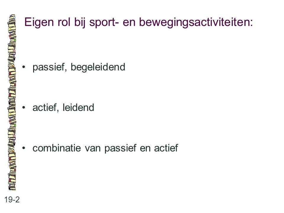 Eigen rol bij sport- en bewegingsactiviteiten: 19-2 passief, begeleidend actief, leidend combinatie van passief en actief