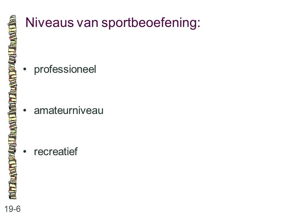 Niveaus van sportbeoefening: 19-6 professioneel amateurniveau recreatief