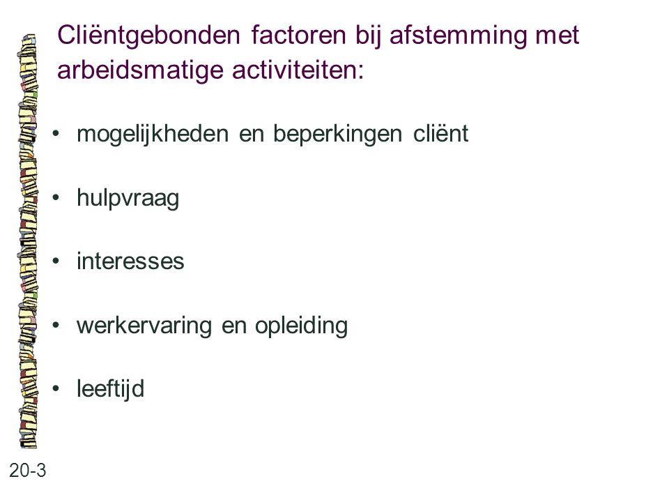 Cliëntgebonden factoren bij afstemming met arbeidsmatige activiteiten: 20-3 mogelijkheden en beperkingen cliënt hulpvraag interesses werkervaring en o