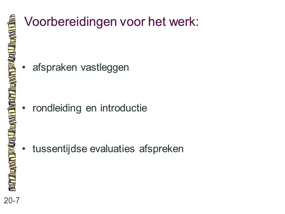 Voorbereidingen voor het werk: 20-7 afspraken vastleggen rondleiding en introductie tussentijdse evaluaties afspreken