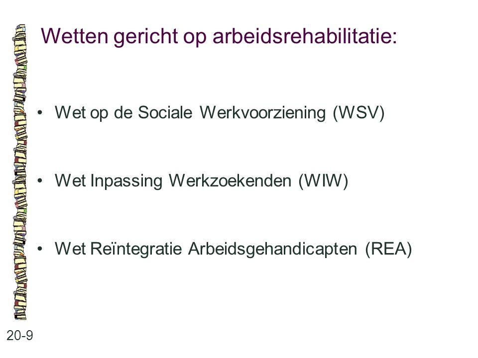 Wetten gericht op arbeidsrehabilitatie: 20-9 Wet op de Sociale Werkvoorziening (WSV) Wet Inpassing Werkzoekenden (WIW) Wet Reïntegratie Arbeidsgehandi