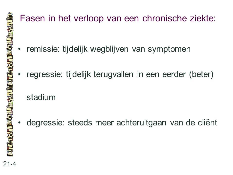 Fasen in het verloop van een chronische ziekte: 21-4 remissie: tijdelijk wegblijven van symptomen regressie: tijdelijk terugvallen in een eerder (bete
