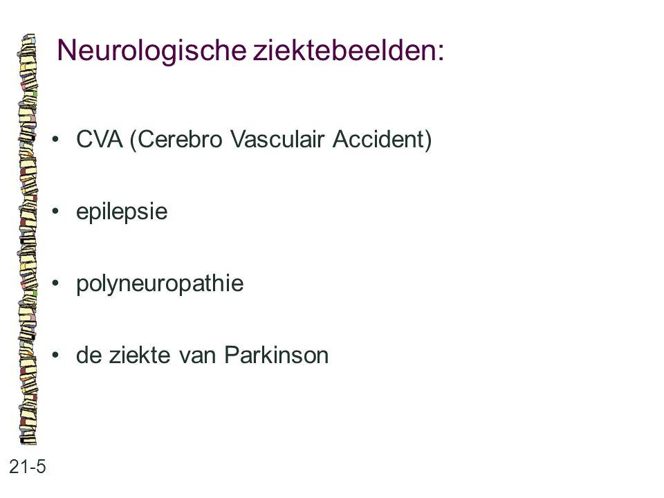 Neurologische ziektebeelden: 21-5 CVA (Cerebro Vasculair Accident) epilepsie polyneuropathie de ziekte van Parkinson