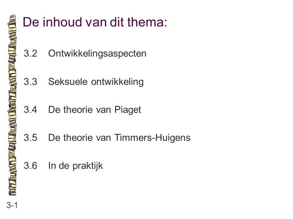 De inhoud van dit thema: 3-1 3.2 Ontwikkelingsaspecten 3.3 Seksuele ontwikkeling 3.4 De theorie van Piaget 3.5 De theorie van Timmers-Huigens 3.6 In d
