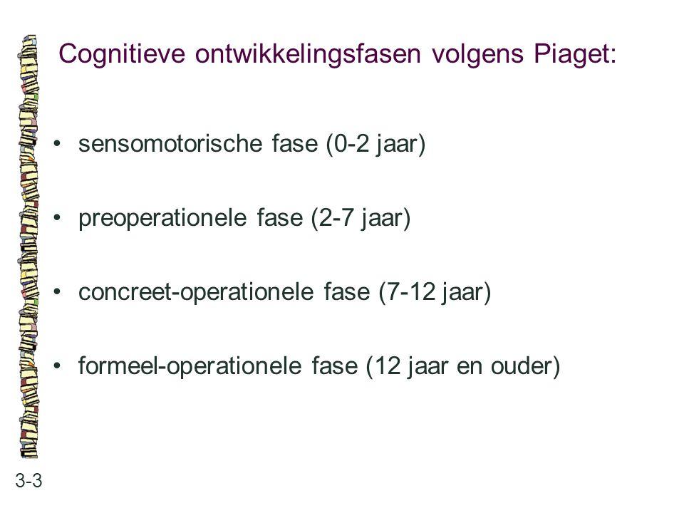 Cognitieve ontwikkelingsfasen volgens Piaget: 3-3 sensomotorische fase (0-2 jaar) preoperationele fase (2-7 jaar) concreet-operationele fase (7-12 jaa