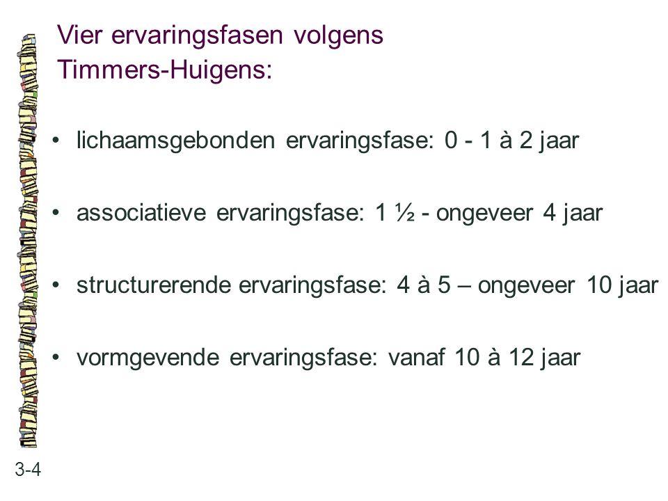 Vier ervaringsfasen volgens Timmers-Huigens: 3-4 lichaamsgebonden ervaringsfase: 0 - 1 à 2 jaar associatieve ervaringsfase: 1 ½ - ongeveer 4 jaar stru