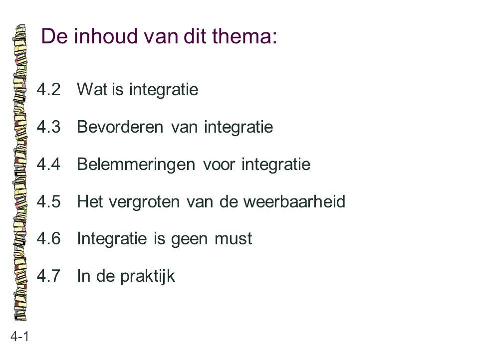 De inhoud van dit thema: 4-1 4.2 Wat is integratie 4.3 Bevorderen van integratie 4.4 Belemmeringen voor integratie 4.5 Het vergroten van de weerbaarhe