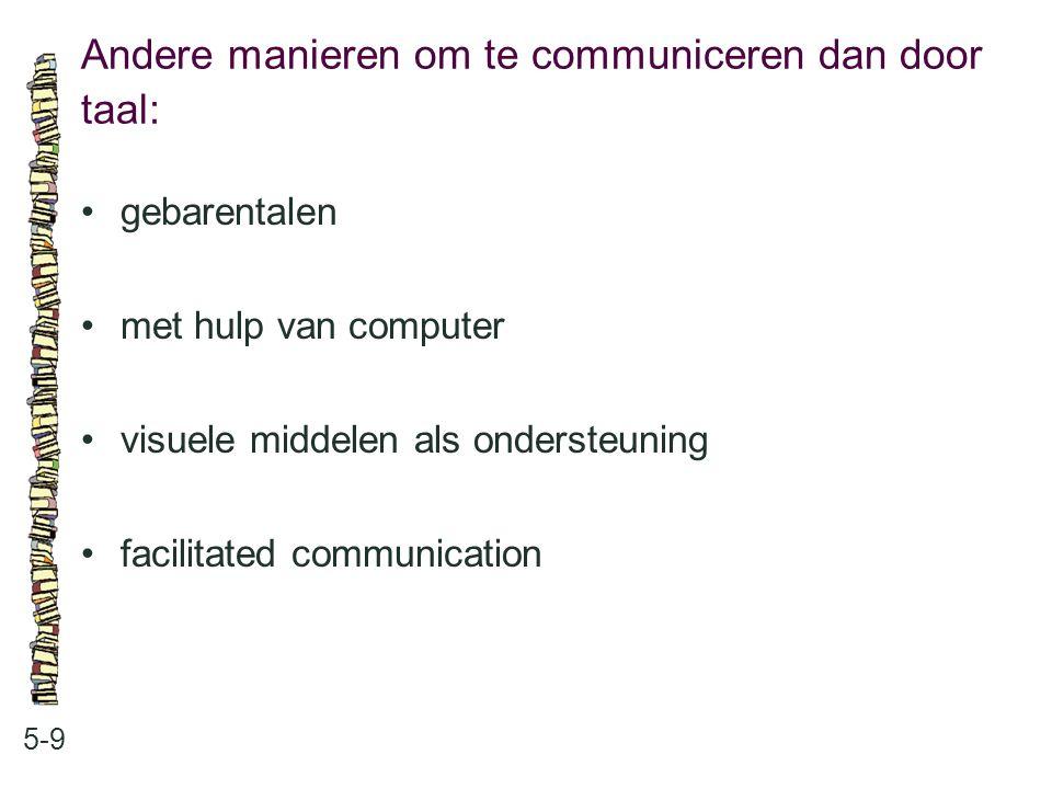 Andere manieren om te communiceren dan door taal: 5-9 gebarentalen met hulp van computer visuele middelen als ondersteuning facilitated communication