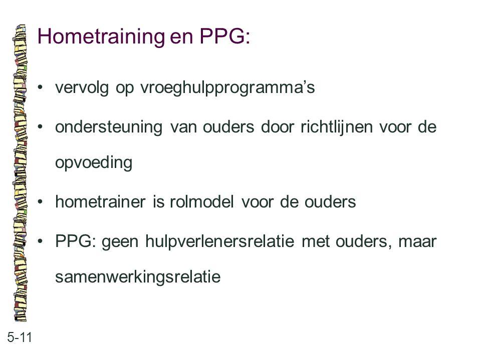 Hometraining en PPG: 5-11 vervolg op vroeghulpprogramma's ondersteuning van ouders door richtlijnen voor de opvoeding hometrainer is rolmodel voor de