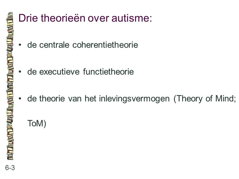 Drie theorieën over autisme: 6-3 de centrale coherentietheorie de executieve functietheorie de theorie van het inlevingsvermogen (Theory of Mind; ToM)