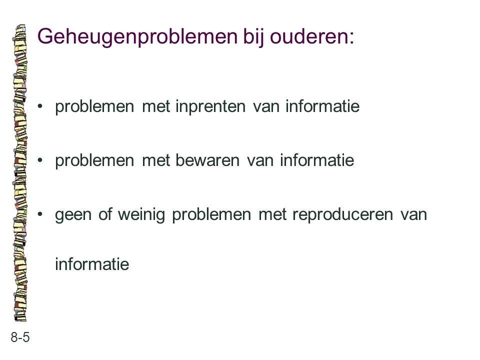 Geheugenproblemen bij ouderen: 8-5 problemen met inprenten van informatie problemen met bewaren van informatie geen of weinig problemen met reproducer
