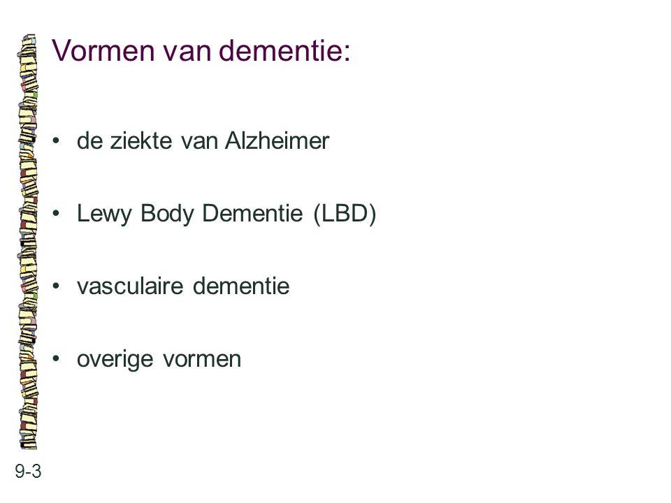 Vormen van dementie: 9-3 de ziekte van Alzheimer Lewy Body Dementie (LBD) vasculaire dementie overige vormen
