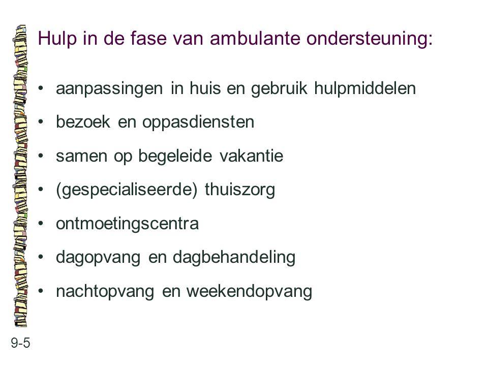 Hulp in de fase van ambulante ondersteuning: 9-5 aanpassingen in huis en gebruik hulpmiddelen bezoek en oppasdiensten samen op begeleide vakantie (ges