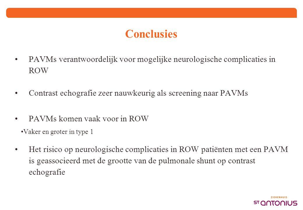 Conclusies PAVMs verantwoordelijk voor mogelijke neurologische complicaties in ROW Contrast echografie zeer nauwkeurig als screening naar PAVMs PAVMs