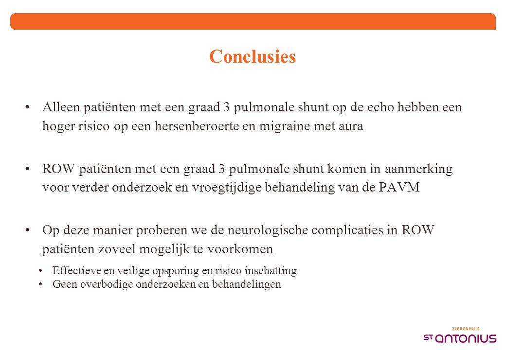 Conclusies Alleen patiënten met een graad 3 pulmonale shunt op de echo hebben een hoger risico op een hersenberoerte en migraine met aura ROW patiënte