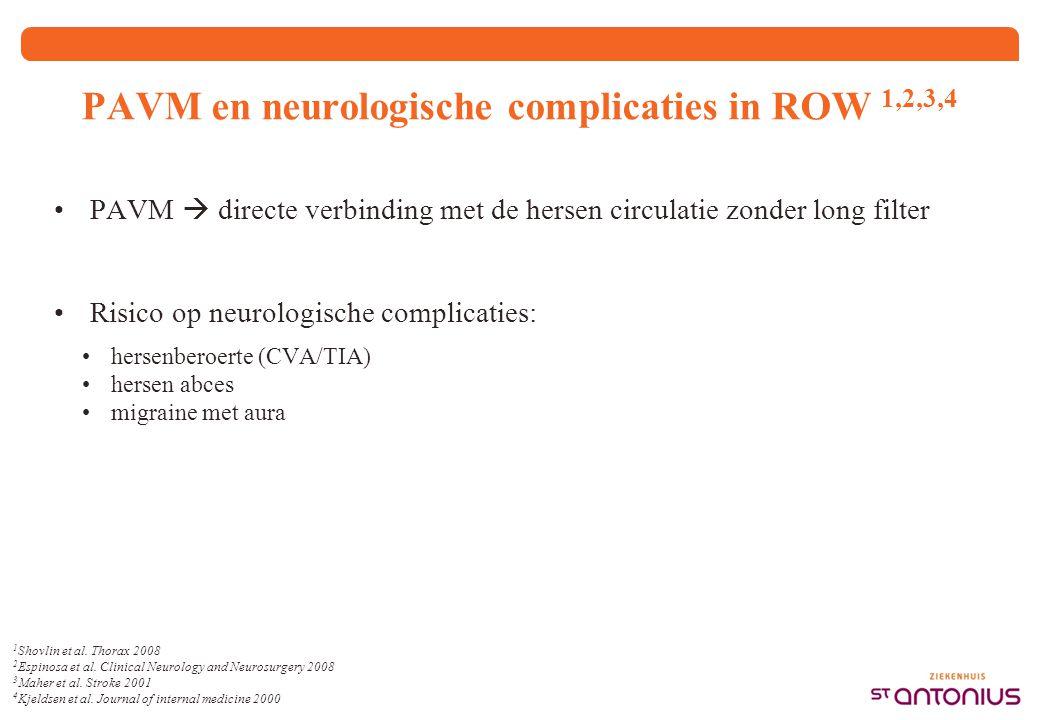 1 Shovlin et al. Thorax 2008 2 Espinosa et al. Clinical Neurology and Neurosurgery 2008 3 Maher et al. Stroke 2001 4 Kjeldsen et al. Journal of intern